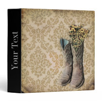 Damask wildflower Western country cowboy boots Binder