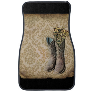 Damask wildflower Western country cowboy boots Car Mat