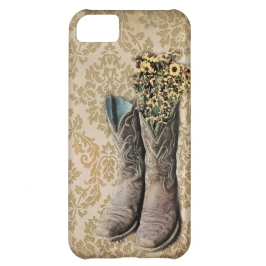 Damask wildflower Western country cowboy boots Cover For iPhone 5C