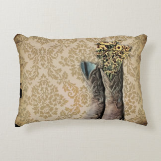 Damask wildflower Western country cowboy boots Decorative Pillow