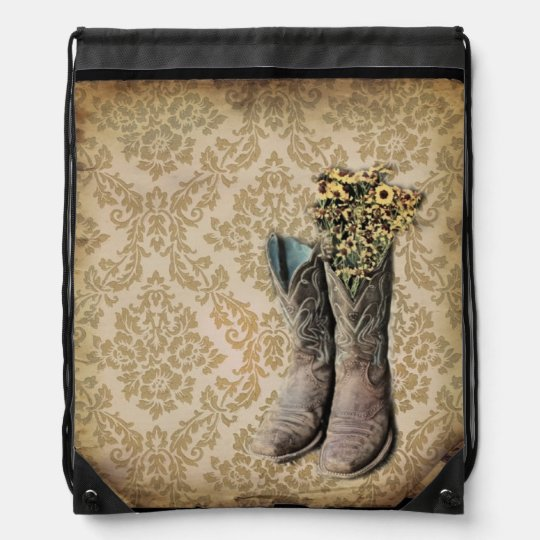 Damask wildflower Western country cowboy boots Drawstring Bag