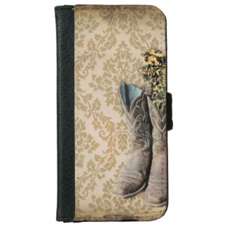 Damask wildflower Western country cowboy boots iPhone 6/6s Wallet Case