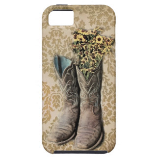Damask wildflower Western country cowboy boots iPhone SE/5/5s Case