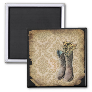 Damask wildflower Western country cowboy boots Magnet