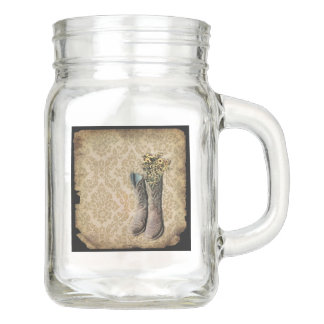Damask wildflower Western country cowboy boots Mason Jar