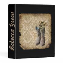 Damask wildflower Western country cowboy boots Mini Binder