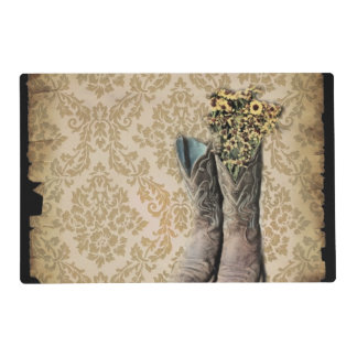 Damask wildflower Western country cowboy boots Placemat