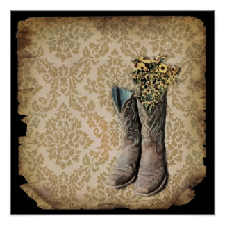 Damask wildflower Western country cowboy boots Poster