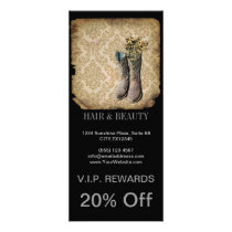 Damask wildflower Western country cowboy boots Rack Card