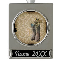 Damask wildflower Western country cowboy boots Silver Plated Banner Ornament