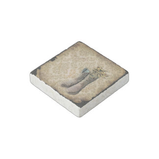 Damask wildflower Western country cowboy boots Stone Magnet