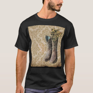 Damask wildflower Western country cowboy boots T-Shirt