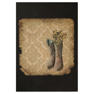 Damask wildflower Western country cowboy boots Wood Poster