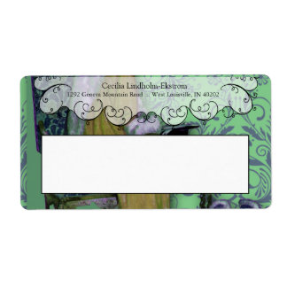 Damask Wildflowers, After The Opera, Green & Blue Shipping Label
