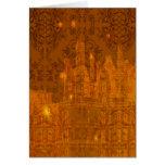 Damask Wildflowers, Angel's Castle, Golden Orange Greeting Card