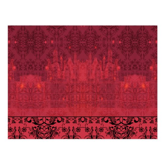 Damask Wildflowers, ANGEL'S CASTLE in Red & Pink Postcard