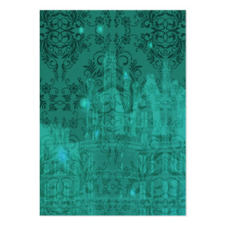 Damask Wildflowers, ANGEL'S CASTLE in Turquoise Large Business Card