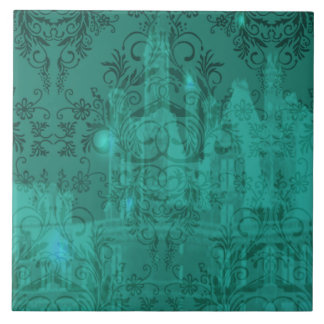 Damask Wildflowers, ANGEL'S CASTLE in Turquoise Tile