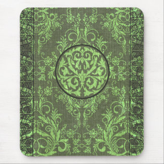 Damask Wildflowers, BOOK COVER in Olive Mouse Pad
