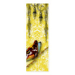 Damask Wildflowers, BUTTERFLY in Yellow Double-Sided Mini Business Cards (Pack Of 20)