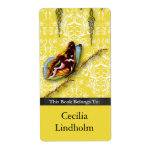 Damask Wildflowers, BUTTERFLY in Yellow Shipping Label