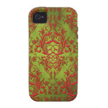 Damask Wildflowers, Electra in Chartreuse and Red Case-Mate iPhone 4 Covers