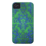 Damask Wildflowers, Electra in Green and Blue iPhone 4 Cover