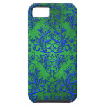 Damask Wildflowers, Electra in Green and Blue iPhone 5 Covers