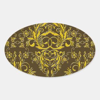 Damask Wildflowers, Embossed Metal in Brown & Gold Oval Sticker