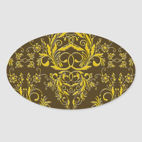 Damask Wildflowers, Embossed Metal in Brown & Gold Oval Sticker