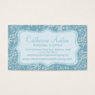 Damask wildflowers everyday blue business card