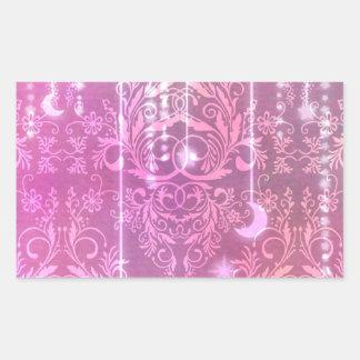 Damask Wildflowers, Madam Valeska in Pink Rectangular Sticker