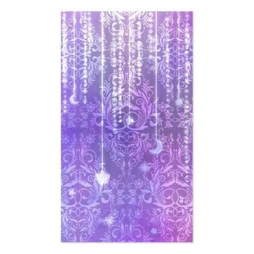 Damask Wildflowers, MADAM VALESKA in Purple Business Cards