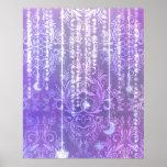 Damask Wildflowers, MADAM VALESKA in Purple Posters
