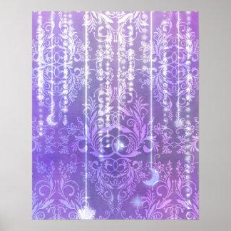 Damask Wildflowers, MADAM VALESKA in Purple Poster