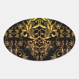 Damask Wildflowers, Midnight Masquerade in Gold Oval Sticker