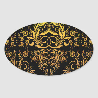 Damask Wildflowers, Midnight Masquerade in Gold Oval Stickers