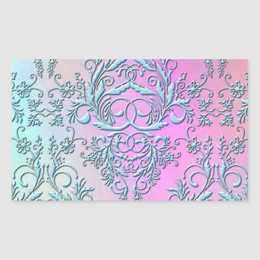 Damask Wildflowers, Party Lights in Blue & Pink Rectangle Stickers
