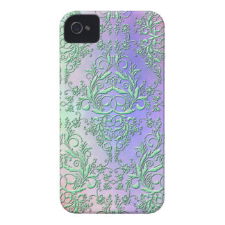 Damask Wildflowers, Party Lights in Green & Purple iPhone 4 Case-Mate Case
