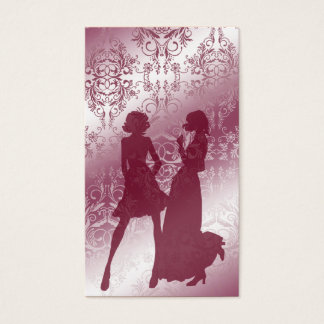 Damask Wildflowers, Sheer Shadows in Rose Business Card