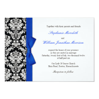 Damask With Blue Bow Wedding Invitation