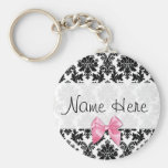Damask with bow keychain