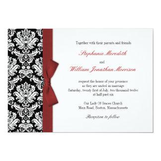 Damask With Burgundy Bow Wedding Invitation