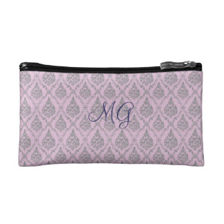 Damask with monogram cosmetic bag