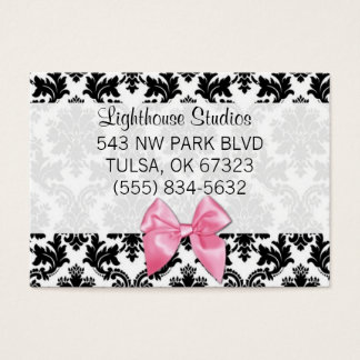 Damask with Pink Bow Business Card