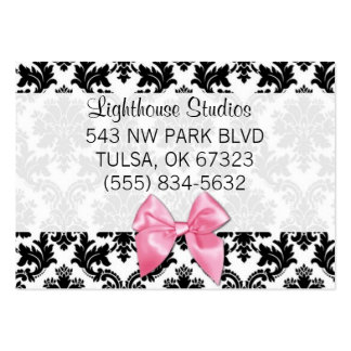 Damask with Pink Bow Large Business Card