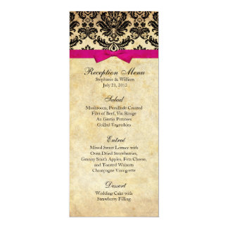 Damask with Pink Bow Reception Menu Card