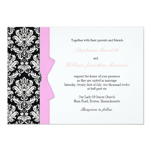 Damask With Pink Bow Wedding Invitation