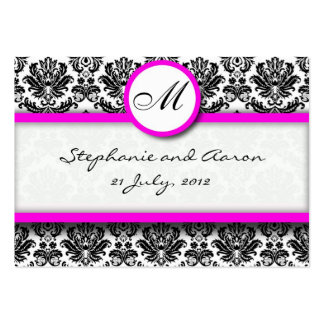 Damask With Pink Wedding Website Business Card
