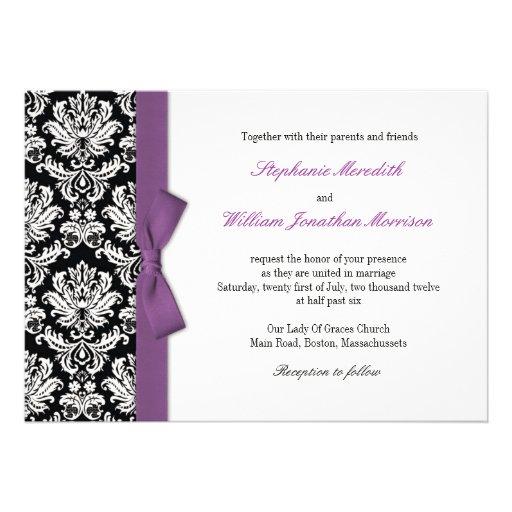 Damask With Purple Bow Wedding Invitation 5 X 7 Invitation Card